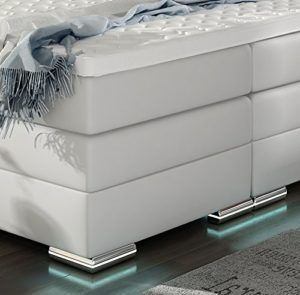XXL ROMA Boxspringbett mit Bettkasten Designer Boxspring Bett LED Schneeweiss Rechteck Design (Schneeweiss, 180x200cm) im test