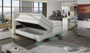 XXL ROMA Boxspringbett mit Bettkasten Designer Boxspring Bett LED Schneeweiss Rechteck Design (Schneeweiss, 180x200cm) test