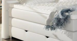 XXL ROMA Boxspringbett mit Bettkasten Designer Boxspring Bett LED Schneeweiss Rechteck Design (Schneeweiss)
