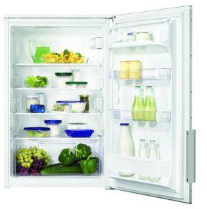 Der Zanussi ZBA15040WA Kühlschrank hat Glasablagen.