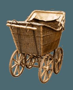 Kinderwagen aus Ratan im Vintage-Stil