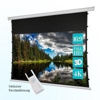 ivolum Motor Tension-Leinwand 240 x 135 cm | Format 16:9 | Beamer-Leinwand mit optimierter Planlage durch Seilspannung | auch als 3D-Leinwand oder 4K-Leinwand einsetzbar