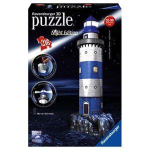 03 2 Ravensburger 3D Puzzle Leuchtturm Bei Nacht 12577