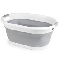 Beldray LA034816 faltbarer Wäschekorb, oval, weiß/grau