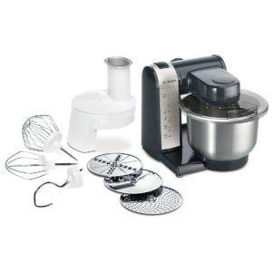 Bosch MUM48A1 Küchenmaschine (600 Watt, 3,9 Liter, Edelstahl-Rührschüssel, Durchlaufschnitzler, Rezept DVD) schwarz