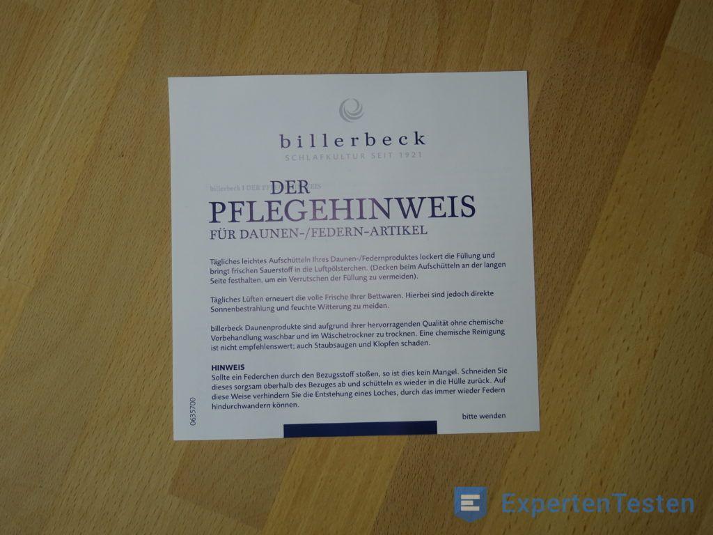 Pflegehinweis für Daunendecke von Billerbeck im Detail