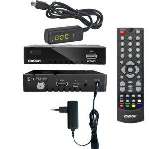 Edision proton Full HD Satelliten-Receiver FTA HDTV DVB-S2 (HDMI, AV, USB 2.0) Astra 19,2 vorpr. inkl. externes 4 stelliges Display Infrarot Auge