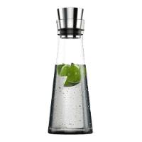 Emsa 515675 Glaskaraffe, 1 Liter, Automatische Verschlussklappe, Glas, Edelstahl, Flow Slim