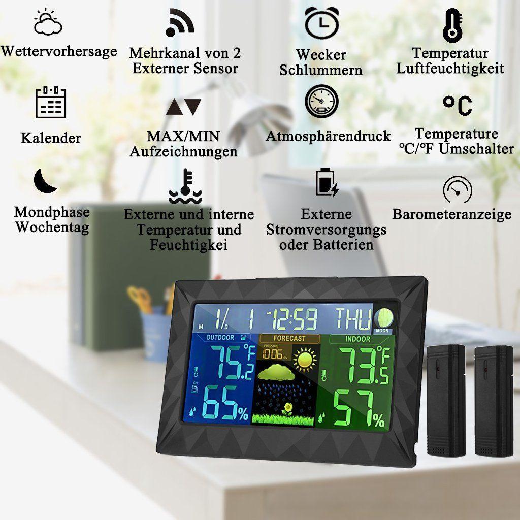 HONYEAR-Wetterstation mit zwei Außensensor—Deutsch Handbuch— Digital LCD Großer Bildschirm Display-inkl. Feuchte