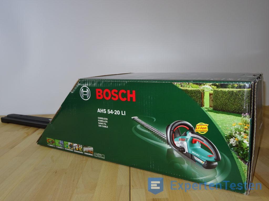 Bosch AHS 54-20 LI Akku-Heckenschere in der Verpackung