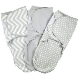 Juicy Bumbles Baby Pucksack Wickel-Decke - 3er Pack Universal Verstellbare Schlafsack Decke für Säuglinge Babys Neugeborene 3-6 Monate Grau Test
