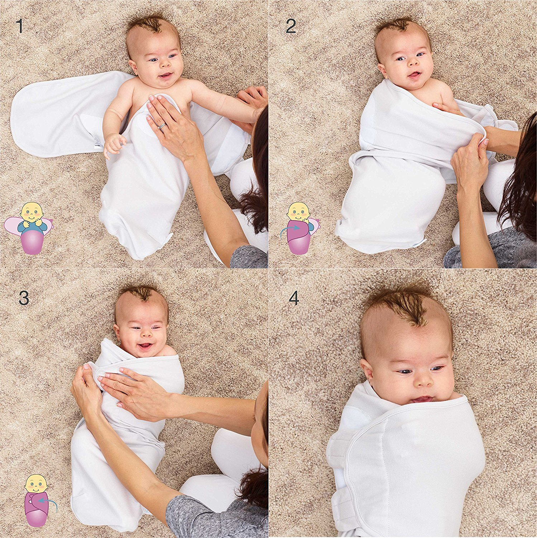 Juicy Bumbles Baby Pucksack Wickel-Decke - 3er Pack Universal Verstellbare Schlafsack Decke für Säuglinge Babys Neugeborene 3-6 Monate Grau