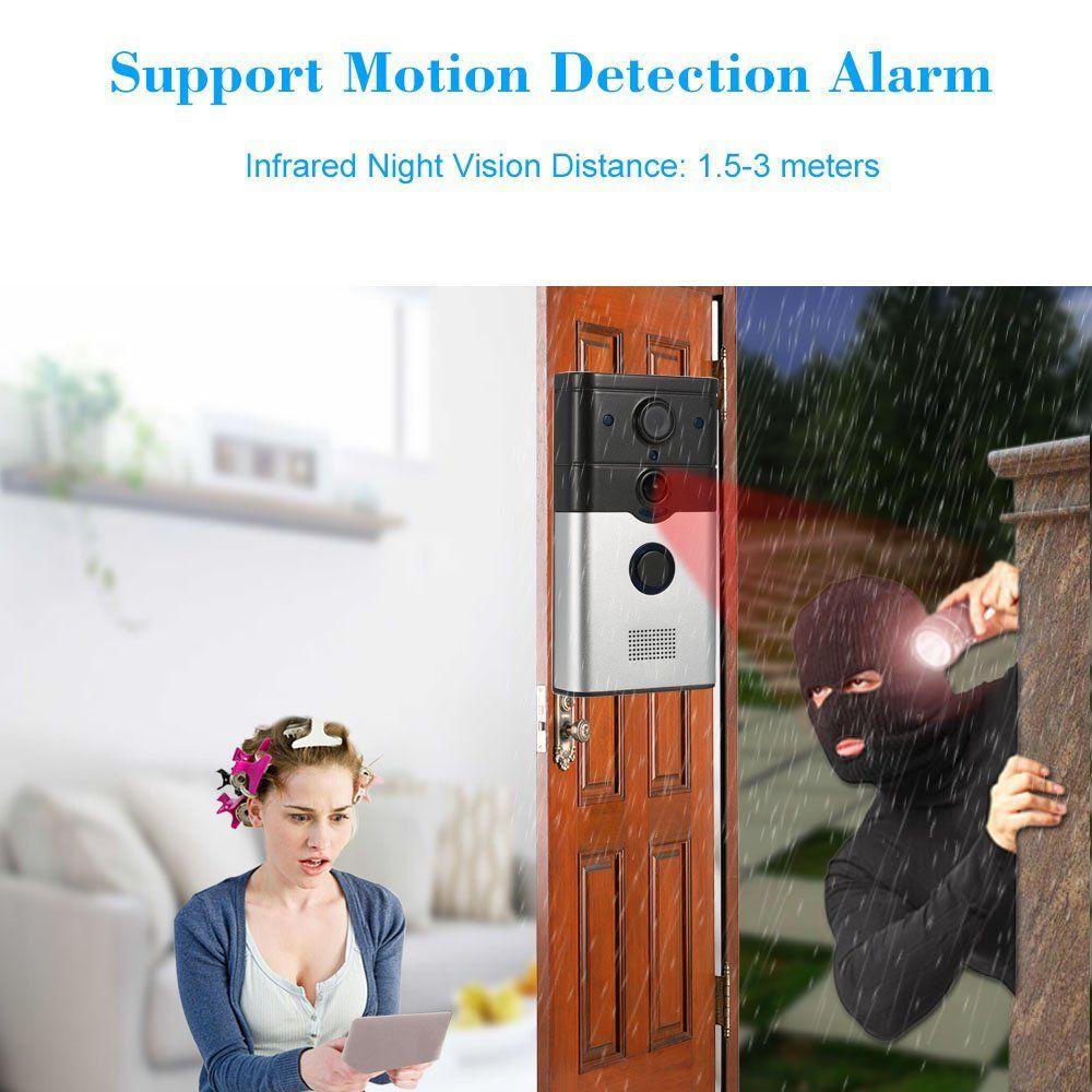 KKmoon 720P drahtlose Türklingel-Unterstützung Telefon-Ansicht-Aufzeichnung Schnappschuß Infrarot-Nachtansicht Regenfestes PIR