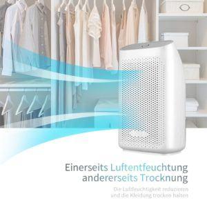 Luftentfeuchter 700ml Raumentfeuchter KKUP2U Elektrischer Entfeuchter für Kellerräume Badezimmer Schlafzimmer Wohnzimmer Büro