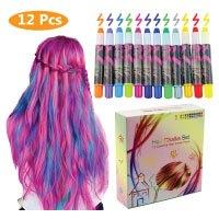 Philonext Haarkreide, 12 Farben Metallische Glitter Temporäre Haarkreide Auswaschbar