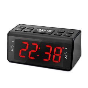 Radiowecker, Eaiitty Digitales FM/AM Uhren-Radio LED Wecker Radiowecker Mit Nachtlicht-Funktion, Dual-Wecker mit Schlummerfunktion, Sleep-Timer, Großes Display