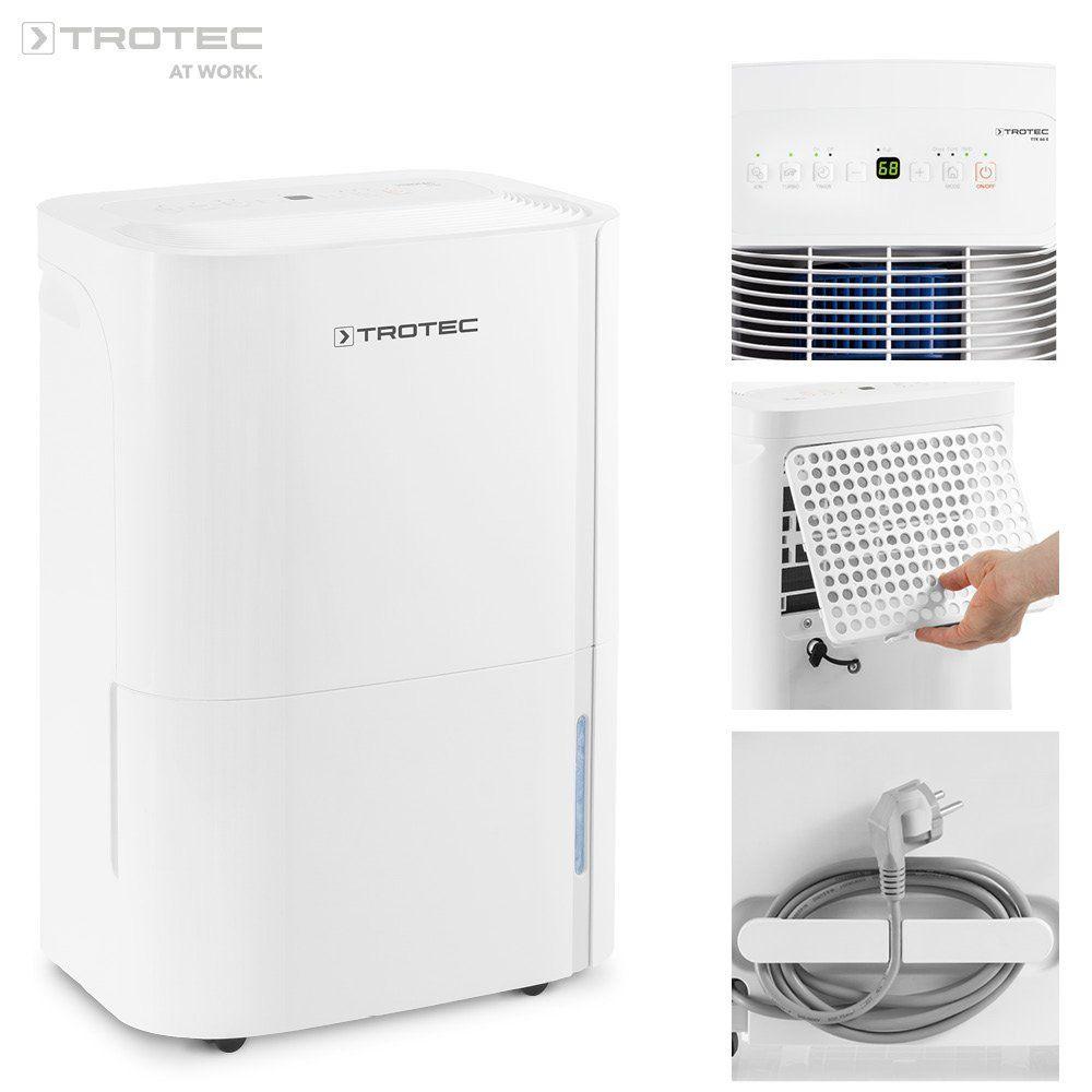 TROTEC TTK 66 E (max. 24 lTag), geeignet für Räume bis 125 m³ 50 m², Luftentfeuchter und Luftreiniger mit integriertem Ionisator zur Verbesserung der Luftqualität