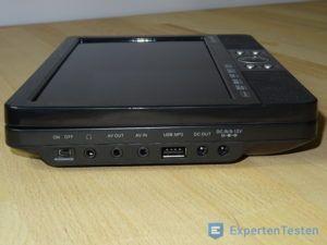 Tragbarer DVD Player in der Seitenansicht