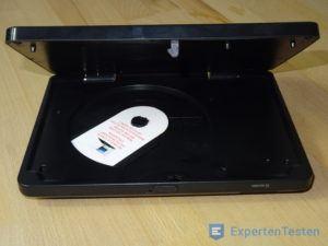 Tragbarer DVD Player mit geöffneter Klappe