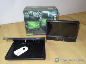 Tragbarer DVD Player mit den einzelnen Komponenten