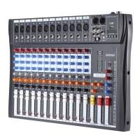ammoon 120S-USB-12-Kanal Mic Line-Audio-Mixer Mischpult USB XLR Eingang 3-Band EQ 48V Phantomspeisung mit Netzteil