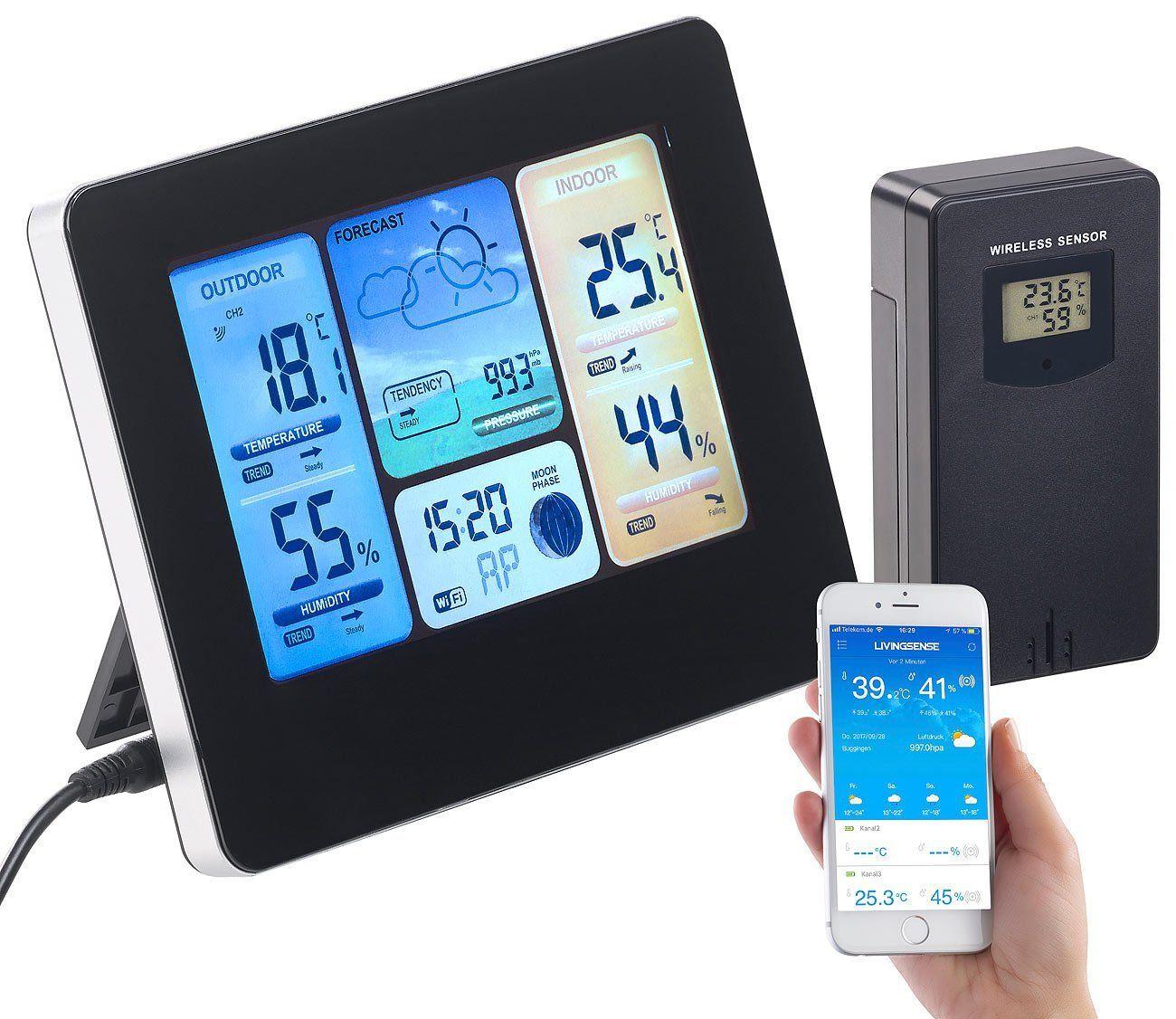 infactory Thermometer WLAN-Funk-Wetterstation mit Außensensor
