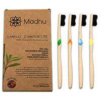 Madhu-Bambus-Zahnbuersten-4er-Set