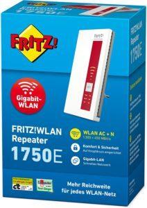 AVM FRITZ!WLAN Repeater 1750E (Dual-WLAN AC + N bis zu 1.300 MBit-s 5 GHz + 450MBit-s 2,4 GHz), Rot-Weiß,