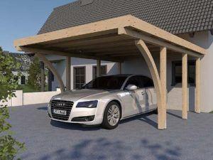 Carport Flachdach IMOLA II 400 x 600 cm KVH mit 2 Leimholzbögen Konstruktionsvollholz