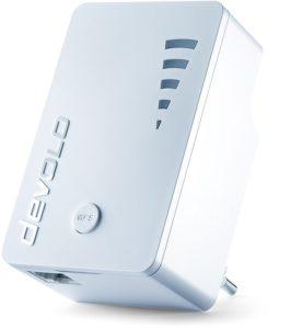 Devolo WiFi Repeater ac (1200 Mbit-s, 1x Gigabit Ethernet LAN Port, WPS, WLAN Repeater und WLAN Verstärker, WiFi Extender, 5 stufige Signalstärkeanzeige, Accesspoint-Funktion, kompaktes Design) weiß