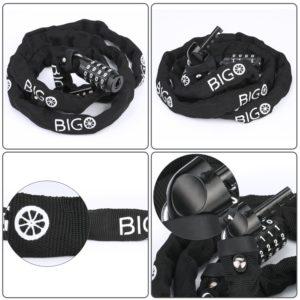 Fahrradschloss, BIGO Kettenschloss Zahlenschloss mit Stahlkettengliedern für Fahrrad und Motorrad 120mm
