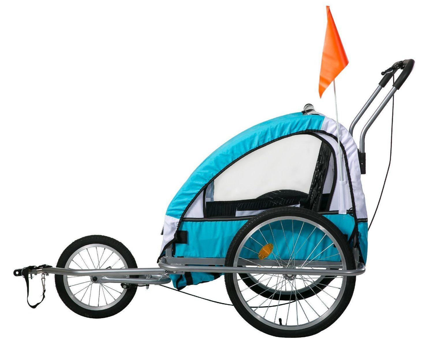 Flieks Kinderanhänger 2 in 1 Fahrradanhänger TRAILER Jogger mit Kupplung