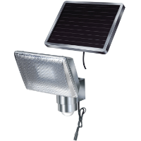 Brennenstuhl LED-Strahler SOL / LED-Leuchte für außen mit Bewegungsmelder und Solar-Panel (IP44, inkl. Akku, 8 x 0,5W) Farbe: Aluminium [Energieklasse A]