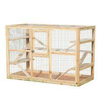 Melko®-Kleintierkäfig-aus-Holz,-120-x-60-x-90-cm,-inklusive-6-Rampen,Nagervilla-Hamsterkäfig-Mäusekäfig