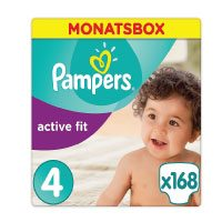 Pampers-Premium-Protection-Active-Fit-Windeln,-Gr.4-Maxi-(8-16-kg),-Monatsbox,-1er-Pack-(1-x-168-Stück)