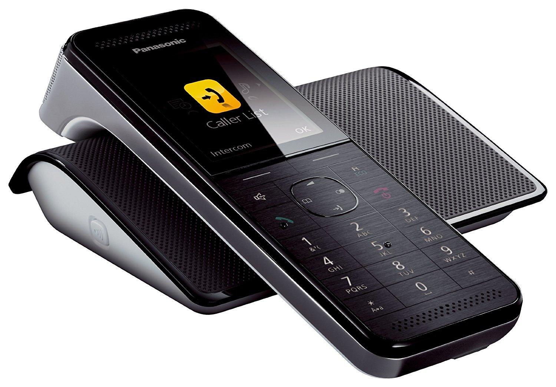 Panasonic KX-PRW120GW Design-Schnurlostelefon (5,6 cm (2,2 Zoll) TFT-Farbdisplay, Smartphone Connect, Anrufbeantworter) schwarz