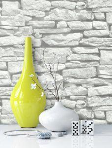 Steintapete in Weiß schöne edle Tapete im Steinmauer Design