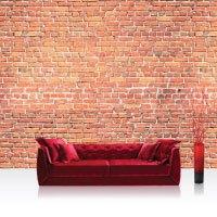 Vlies PREMIUM PLUS - RED BRICK STONE WALL - Wandbild Steinwand Steintapete Ziegelwand