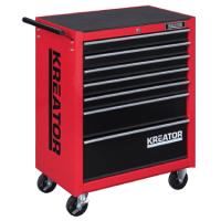 Kreator Werkstattwagen mobil Werkzeugwagen abschließbar 7 Schubladen rot