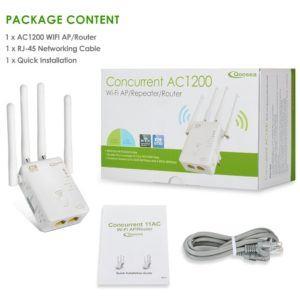 WiFi Verstärker, Qoosea AC1200 Dual Band Repeater-Access Point Wireless-Router Extern 4 Antennen WLAN Extender Amplifier mit Ethernet Kabel