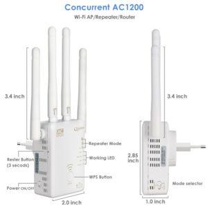 WiFi Verstärker, Qoosea AC1200 Dual Band Repeater-Access Point Wireless-Router Extern 4 Antennen WLAN Extender Amplifier mit Ethernet Kabel - Weiß