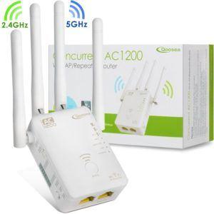 WiFi Verstärker, Qoosea AC1200 Dual Band Repeater-Access Point Wireless-Router Extern 4 Antennen WLAN Extender Amplifier mit Ethernet Kabel - Weiß (WiFi Verstärker)