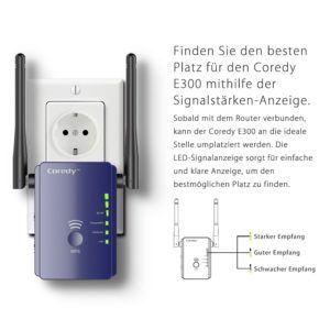 Wlan Verstärker, Coredy E300 Mini WLAN Repeater Signal Wlan Verstaerker ( 300 Mbit-s, 2 LAN-Ports, WPS, kompatibel mit allen WLAN Geräten,