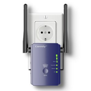 Wlan Verstärker, Coredy E300 Mini WLAN Repeater Signal Wlan Verstaerker ( 300 Mbit-s, 2 LAN-Ports, WPS, kompatibel mit allen WLAN Geräten, Geeignet für Deutschland)