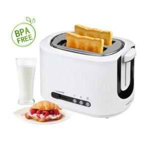 Aigostar Brotchen Weiß 30HMC - Toaster, 850W, 2-Scheibe mit einstellbarer Temperaturregelung, BPA frei. Exklusives Design.
