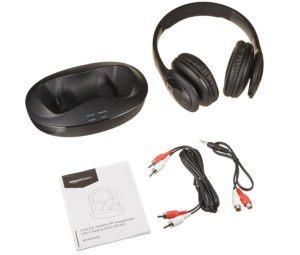 AmazonBasics - Funk-Bügelkopfhörer, kabellos, mit Ladestation lieferumfang