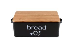 Geräumige Brotkasten aus Metall in Farbe Schwarz mit Bambusdeckel als Schneiderbrett Maße 33x18x12cm mit Luftzirkulation