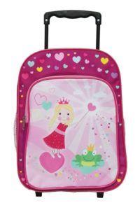 Idena 2 in 1 Kinder Rucksack Trolley Prinzessin mit Frosch Kindergepäck, 14 Liter, Rosa