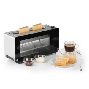 Klarstein Canyon • Toaster • 2-Scheiben-Toaster • Langschlitz-Toaster • Sichtfenster aus Glas • Auftau-Funktion • Aufwärm-Funktion • 7-stufige Bräunungsgradeinstellung • 1200 Watt • silber