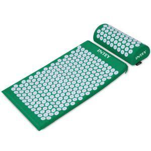 NTEY Akupressur-Set Akupressurmatte zur wohltuenden Entspannung, Akupressurkissen zur Erleichterung der Kopf-Nackenschmerzen mit einer Tragtasche für Männer und Frauen, Grün-Lila
